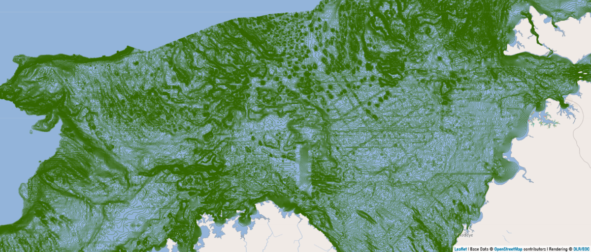 One-metre bathymetry contours of northern Australia from Seamap
