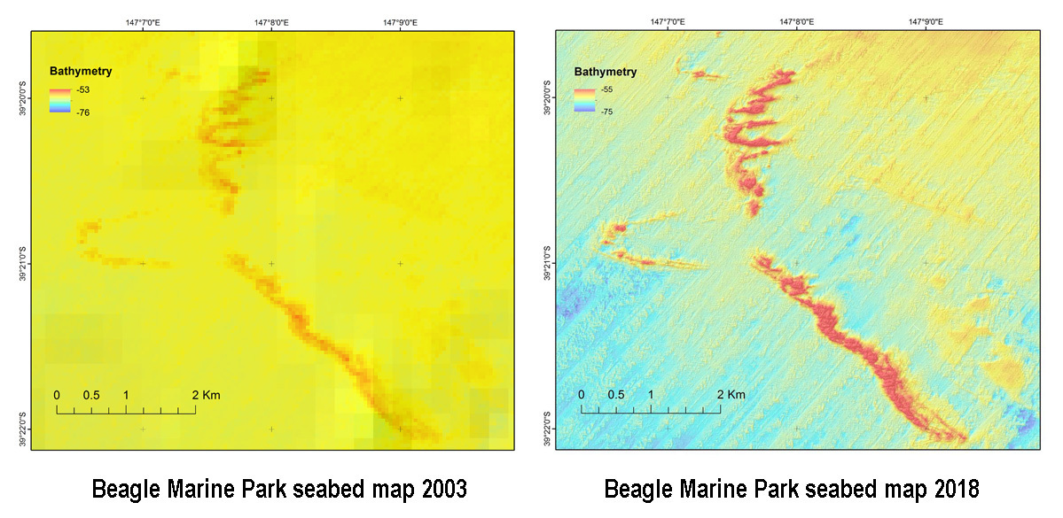 Two seabed maps showing advances in mapping resolution between 2003 and 2018