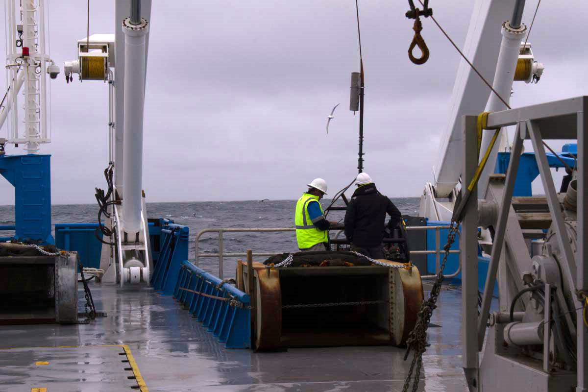 Beam trawl on the deck