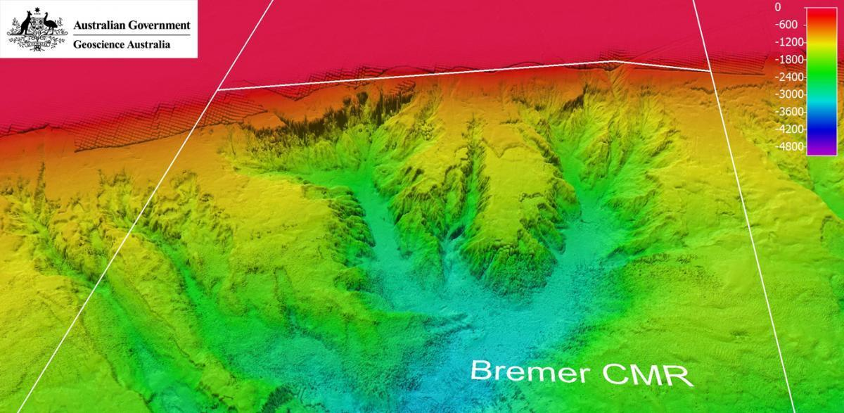 Bathymetry map of Bremer offshore region.