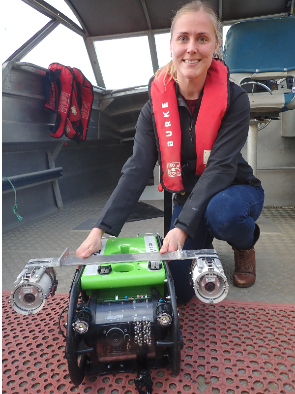 Darryn Sward with a remotely operated vehicle
