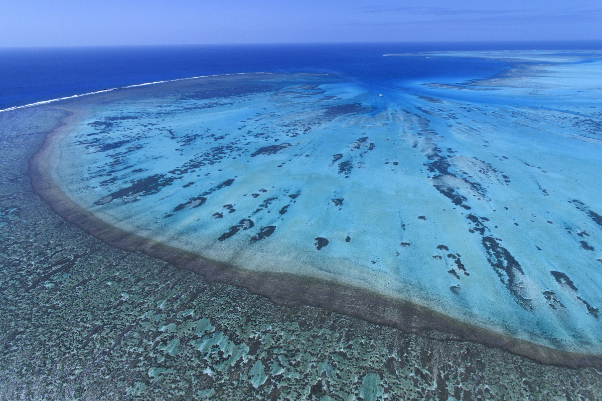 An aerial view of Elizabeth Reef
