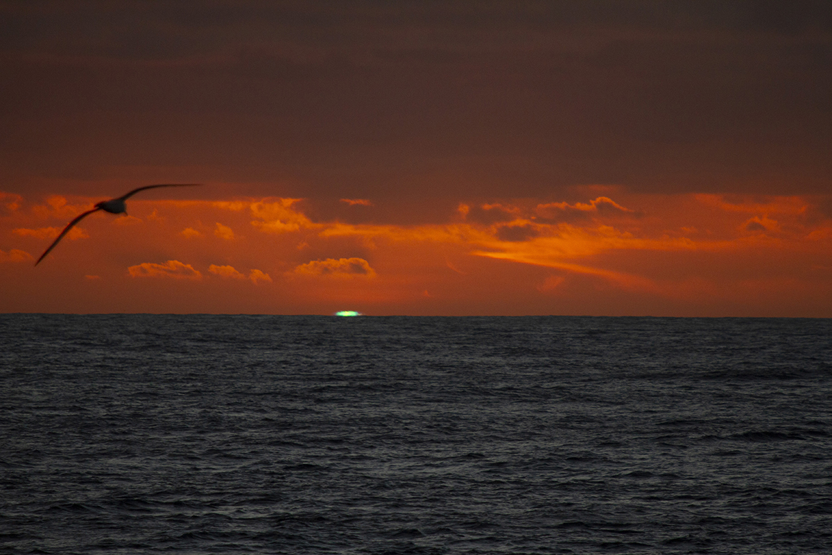 Green flash at sunset over the water