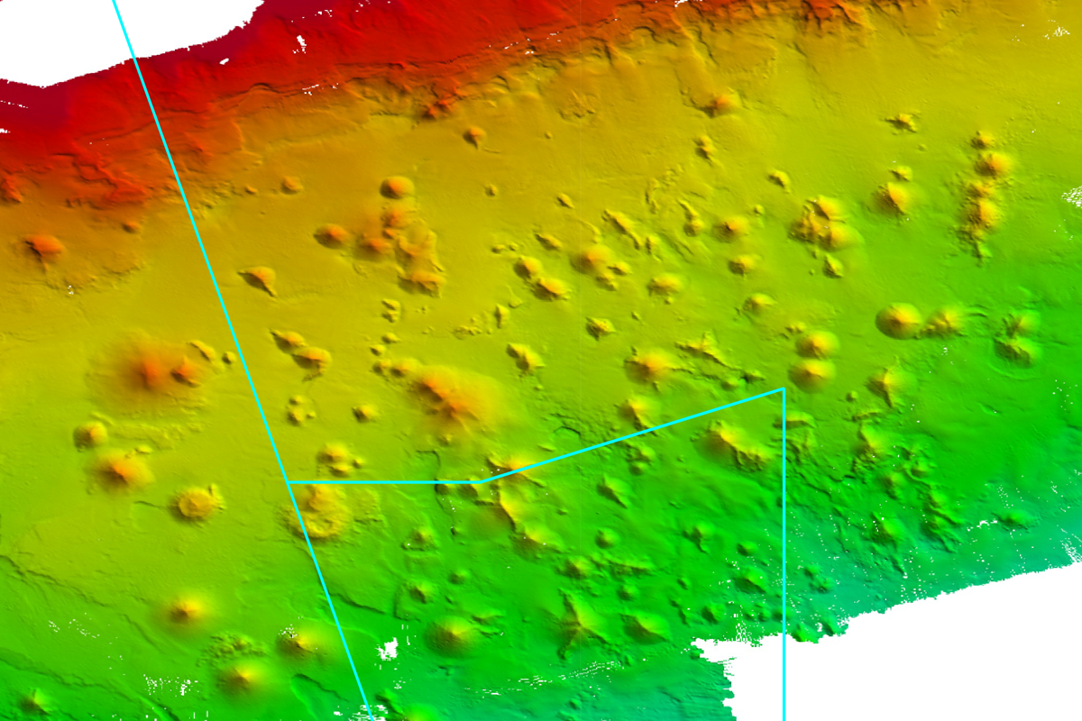 Seafloor bathymetry map showing seamounts in Huon Marine Park