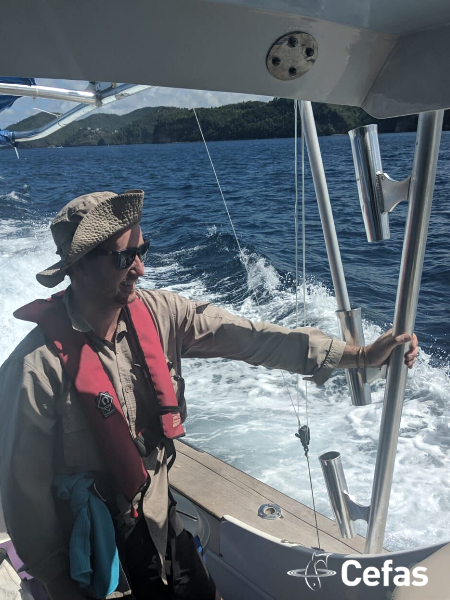 Jacquomo Monk on a survey vessel at St Lucia