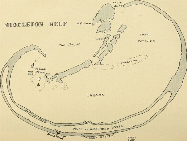 An old hand-drawn map of Middleton Reef