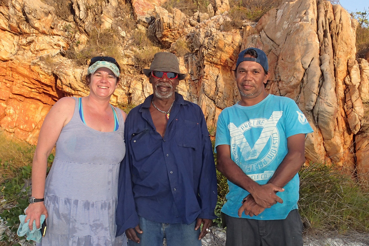 Kathryn McMahono of Edith Cowan University, and Mayala Traditional Owners Sandy and Alec Isaac at Silica Beach, Buccaneer Archipelago