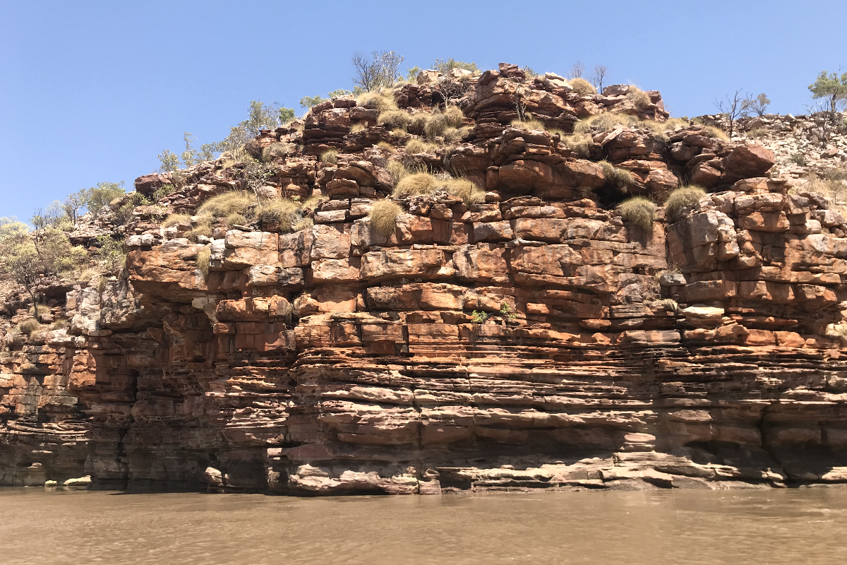 A cliff face along the bank or the Lower Ord River, WA