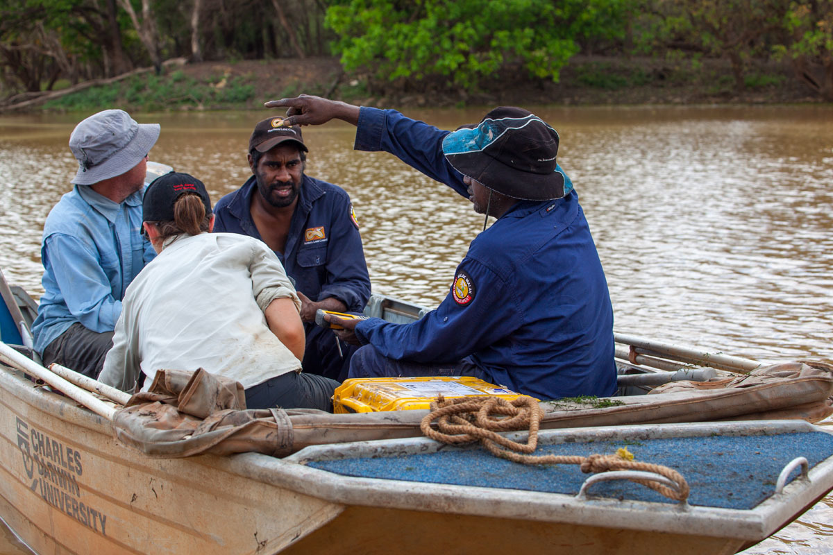 Scientists and Indigenous rangers on the Daly River floodplain.