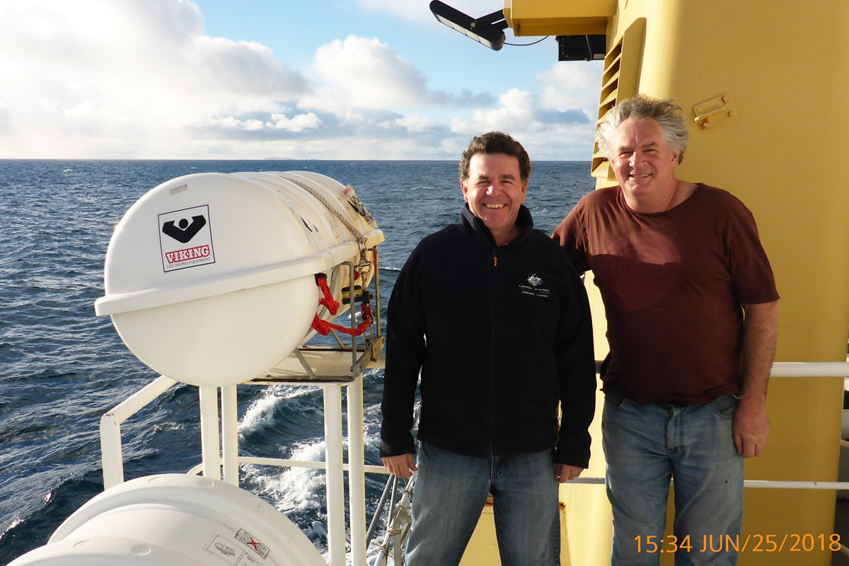 Scientists Scott Nichol and Neville Barrett on the TV Bluefin during mapping of the Beagle Marine Park