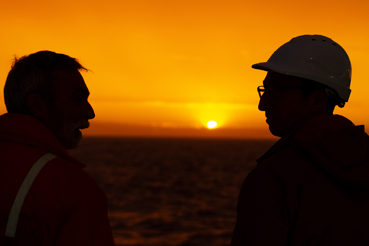Nic Bax and Dave Logan in the sunset