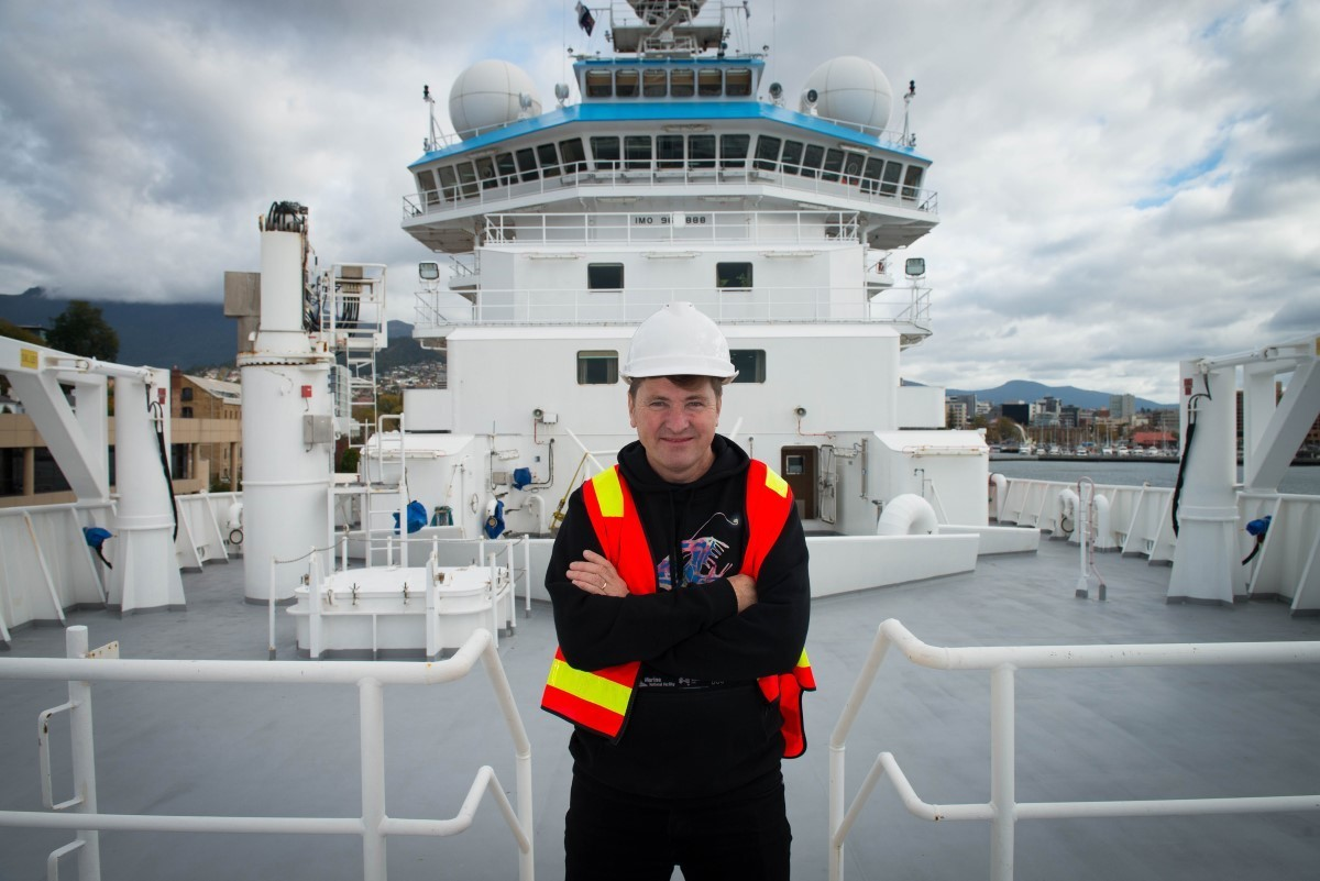 Voyage leader Dr Tim O'Hara on the RV Investigator.
