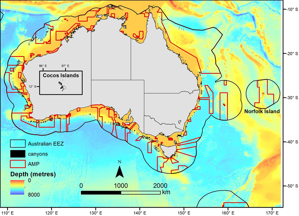 Map showing submarine canyons and Australian Marine Parks