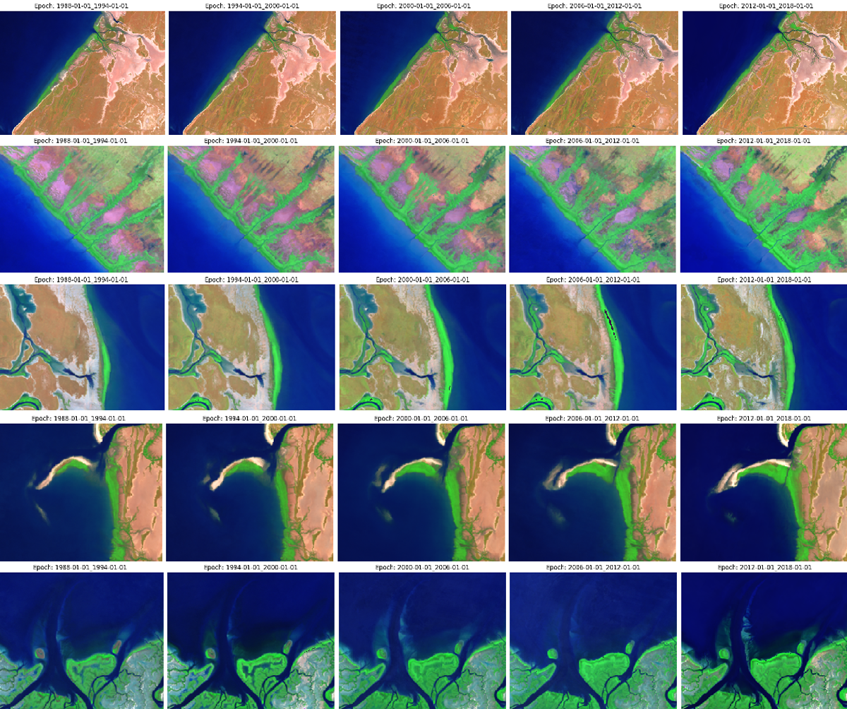 A series of satellite images showing northern river estuaries