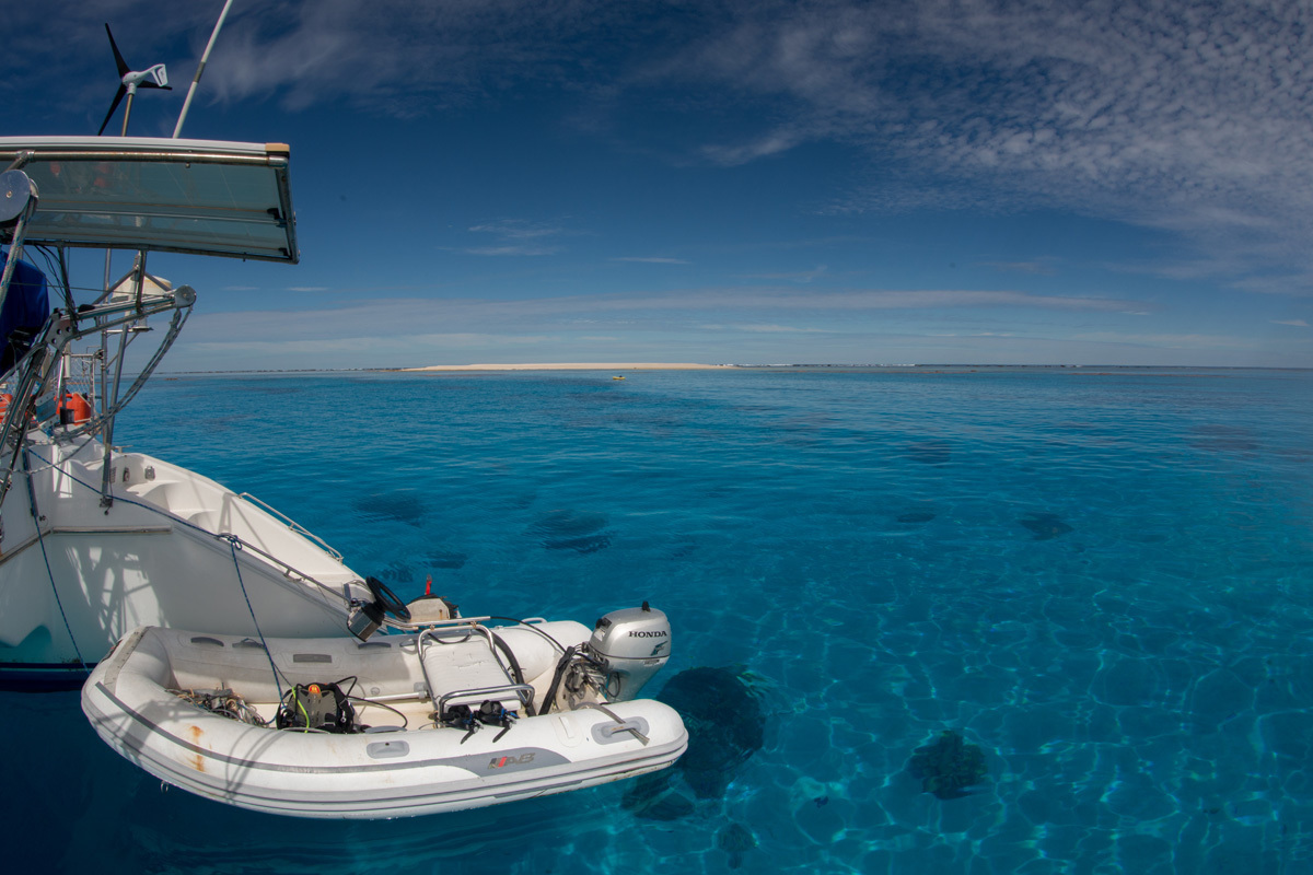 A view of the Coral Sea from a survey vessel