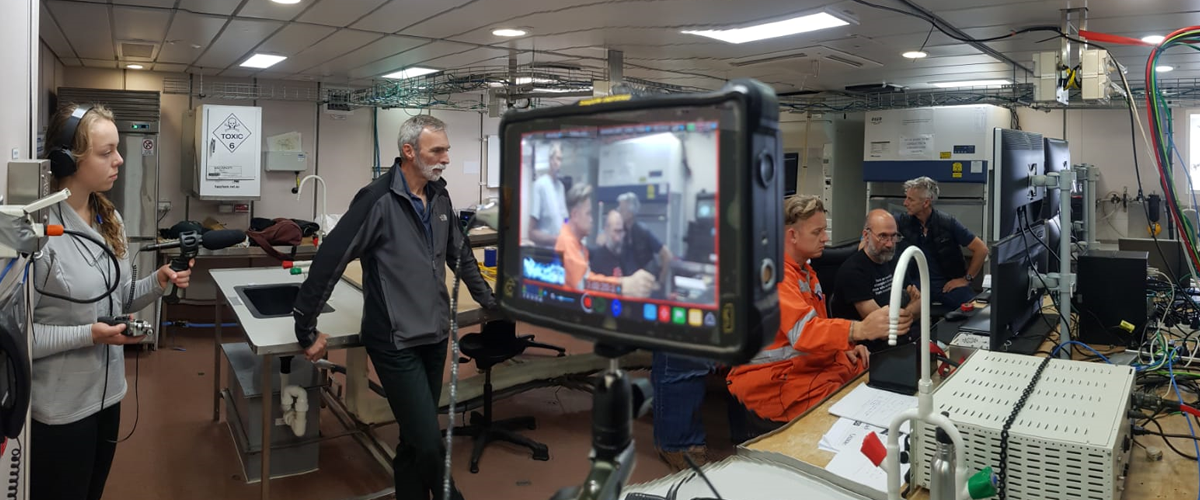 Filming in the operations room on the ship