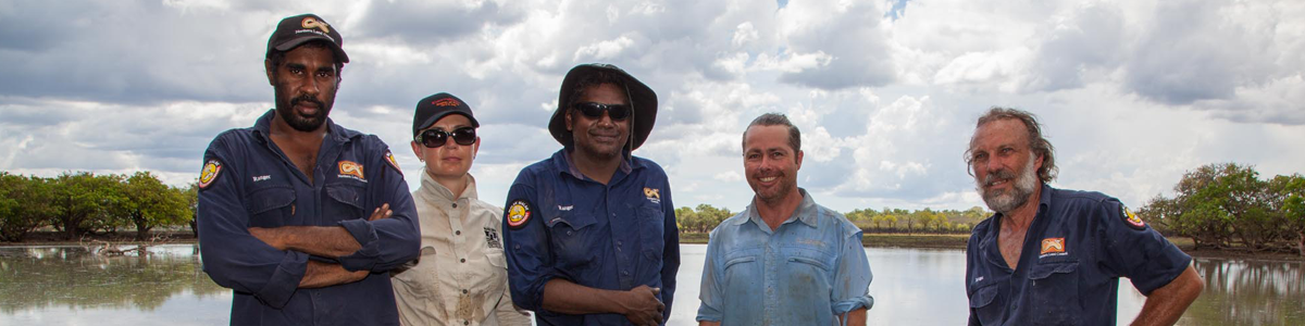 Researchers working with Indigenous rangers at Daly River, NT