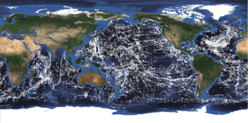 A map showing the global distribution of seamounts