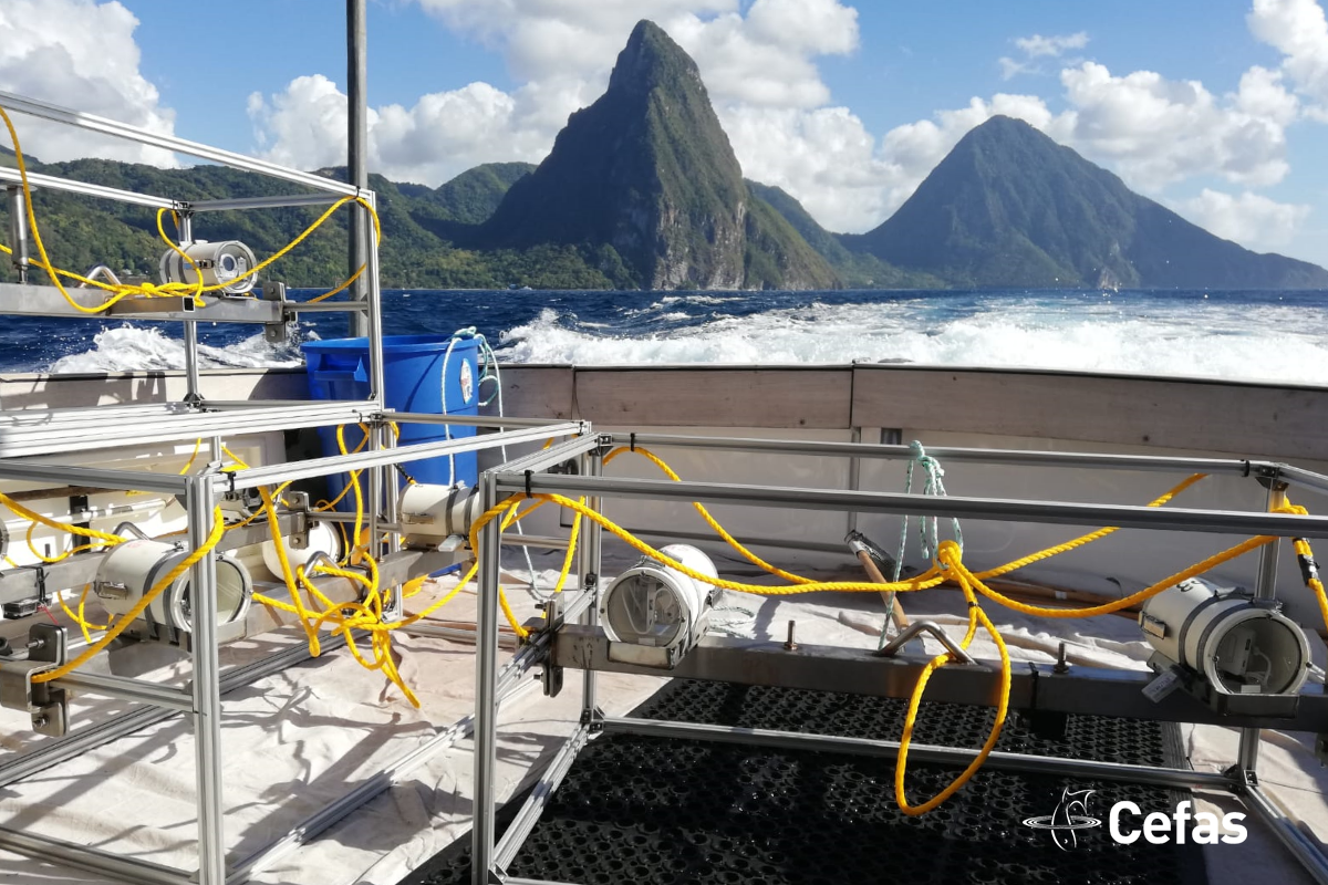 BRUVS on deck with The Pitons on the background