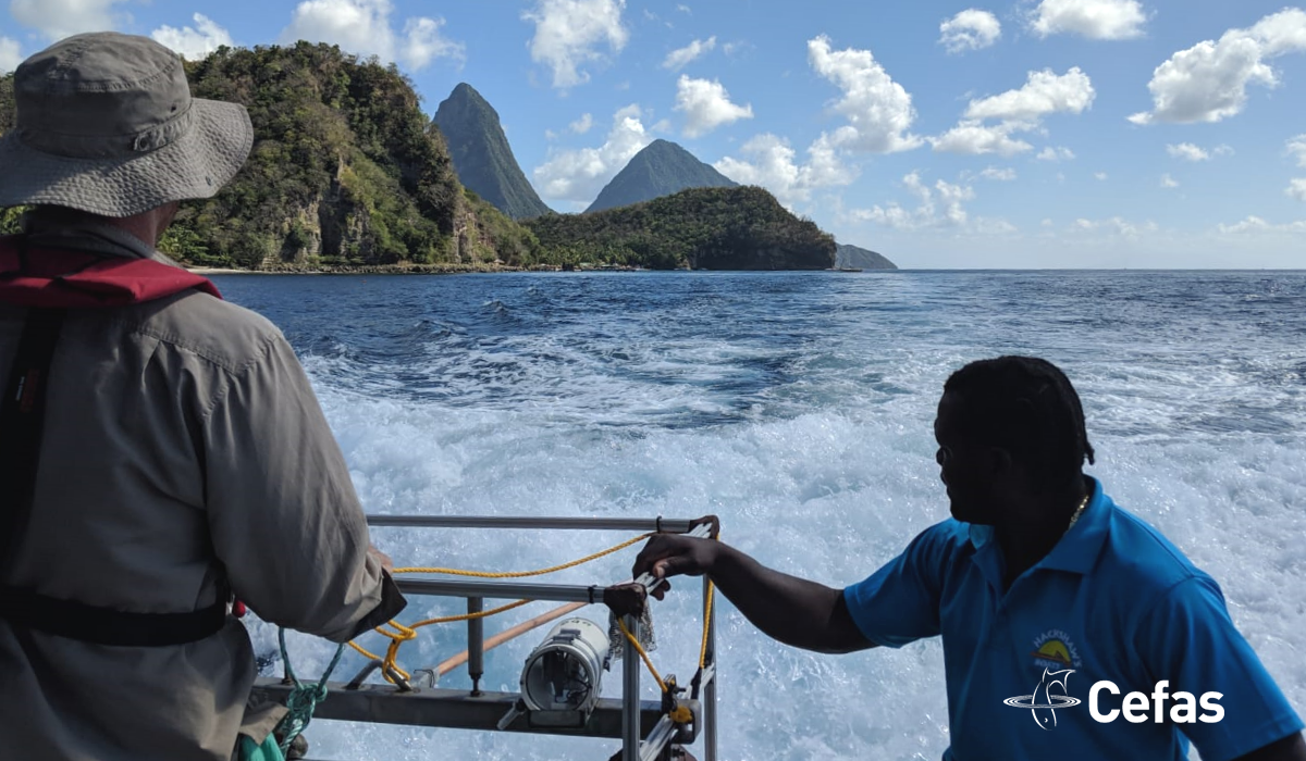 Scientists on a vessel near The Pitons
