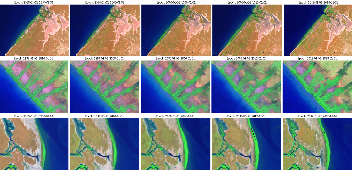 A sequence of aerial images showing changing coast habitat over time in Northern Australia