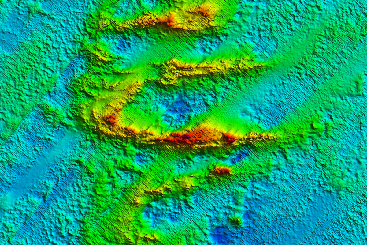 Seabed map showing ridge features in a section of the Beagle Marine Park