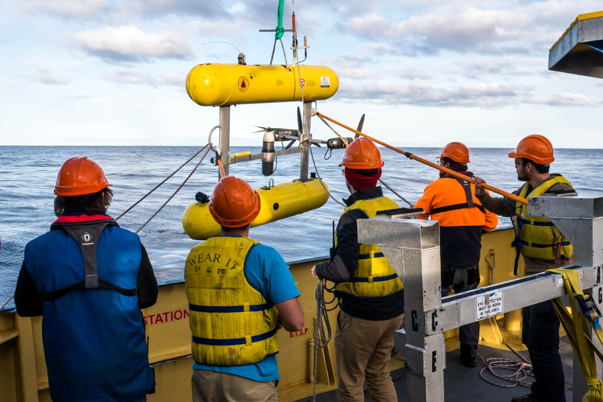 The autonomous underwater vehicle being deployed from the RV Bluefin