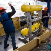 An autonomous underwater vehicle at sea.