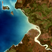 A satellite image of the Daly River estuary, NT.