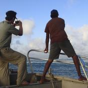 Scientist and Traditional Owner on vessel