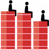 An illustration of stylised people sitting on shipping containers to depict wastewater discharges
