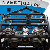 The CSIRO deep-tow camera in front of the Investigator