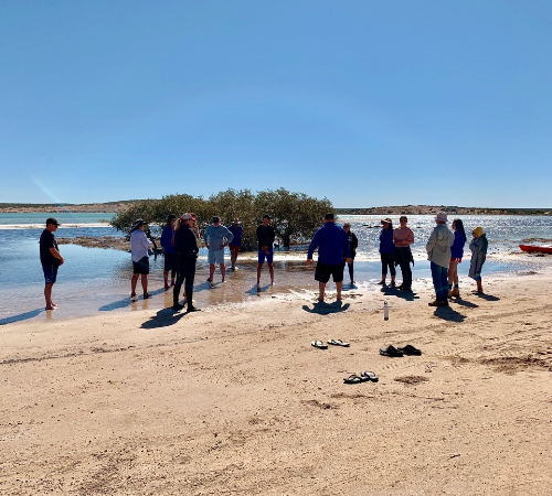 Welcome to Country being performed at Shark Bay by Malgana elders Pat Oakley and Nick Pedrocchi