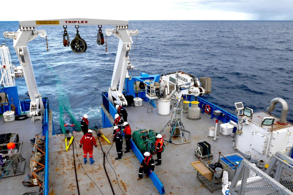 The beam trawl being deployed from the RV Investigator.